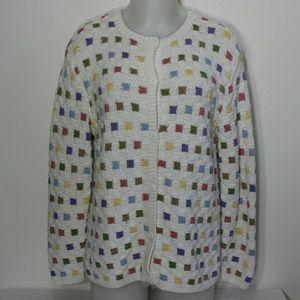 Nordstrom multicolored checkered rainbow cardigan